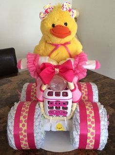 Rubber Ducky Diaper Bike, Diaper Cake, Diaper Creations, Centerpiece ideas, Baby showers, Rubber Ducky Theme