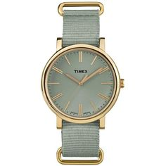 Timex Timex Originals Tonal Sage Dial Sage Strap Ladies Watch ($79) ❤ liked on Polyvore featuring jewelry, watches, timex, timex wrist watch, leather-strap watches, sage jewelry and water resistant watches
