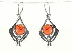 Carved Coral Flower Earrings Orange Flower by LaurenRolfeJewelry, $148.00