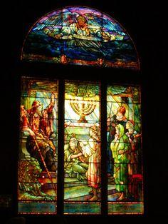 "Tiffany Window ""David Set Singers Before the Lord"" Faith Chapel, Jekyll Island, GA"