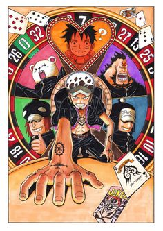 One Piece, Trafalgar Law, Heart pirates, Luffy