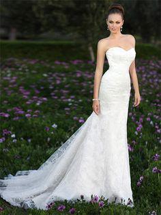 Sheath/Column Sweetheart Lace Satin Sweep Train White Sashes / Ribbons Wedding Dresses at dressestylish