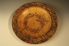 """John Mydock - """"As Above, So Below"""" undated Norfolk Island pine, pyrogravure, Diameter: 22 in. (55,9 cm). Courtesy of the artist, Pahoa, Hawaii. Learn about John's #pyrographic technique: http://youtu.be/12hCqtJysP8"""