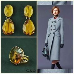 CKD PEDRAS E FOLHEADOS: Anel e maxi brincos com cristal citrino lapidado p...