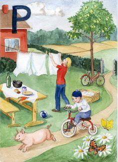 Helmin aapinen kirjain P Learning Letters, Montessori, Nostalgia, Helmet, Kids, Painting, Young Children, Beginning Sounds, Boys