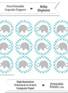Free Printable Elephant Cupcake Toppers Printable Treats Baby