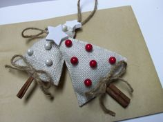 Burlap Cinnamon Stick Christmas Tree Ornaments. | Christmas