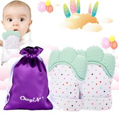 Teething Mitten, CkeyiN Silikon Baby(3-18 Monate) Handschuh Neugeborenen Beißring 2 Set