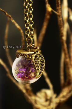Necklace with Glass Globe / Leaf Charm https://www.etsy.com/listing/184435777/necklace-with-glass-globe-leaf-charm