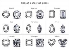 different cut of the diamonds for engagement rings.. <3asscher <3emrald <3radiant <3princess