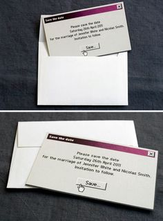 Geeky Wedding Invitation: Menu>file>save As...>dontforgetmywedding.doc