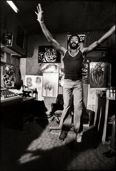 "Lee ""Scratch"" Perry at the Black Ark Studio. Photo by David Burnett"