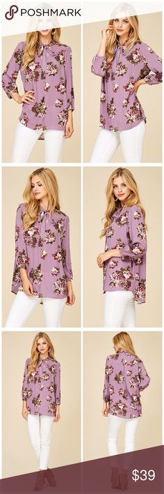PREORDER Lavender 3qtr sleeve tie front Blouse KEYHOLE BOW TIE NECK, 3Q SLEEVE, HIGH AND LOW FLORAL PRINT BLOUSE- 100% RAYON Tops
