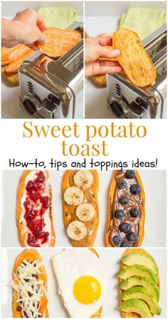 Sweet potato toast -- a quick and healthy breakfast! Includes a how-to, trouble shooting tips, and lots of sweet and savory topping ideas http://fancytemplestore.com