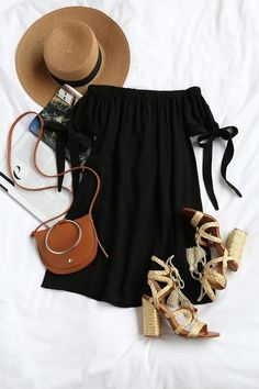 Al Fresco Evenings Black Off-the-Shoulder Dress, Spring Outfits, Al Fresco Evenings Black Off-the-Shoulder Dress Mode Outfits, Casual Outfits, Fashion Outfits, Fashion Trends, Fashion Advice, Fashion Clothes, Fashion Ideas, Black Women Fashion, Look Fashion