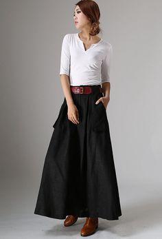 Black skirtpocket skirtslinen skirtA line skirt womens by xiaolizi
