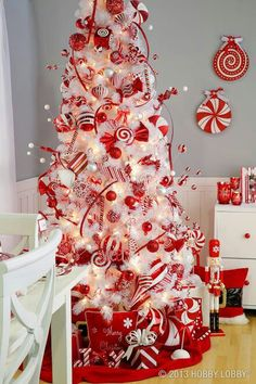 Red And White Christmas Tree 2017 Trees Beautiful