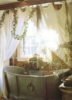 Michael Trapp, a garden designer, decorator, and antique dealer, created this lushly romantic bathroom. The tub is a century French tin tub. There's a real sense of nature in this room! this is my dream bathroom! Romantic Bathrooms, Dream Bathrooms, Beautiful Bathrooms, Baños Shabby Chic, Tin Tub, My New Room, My Dream Home, Sweet Home, House Design