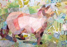 Cat in the Garden Quilt Fabric Art van ccollier op Etsy, $680.00 / €531,25.