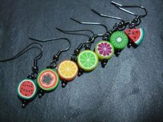 Fimo fruit earrings. Make with clay fruit slices and earring hooks. Link to supplies: http://etsy.me/ygQMVQ