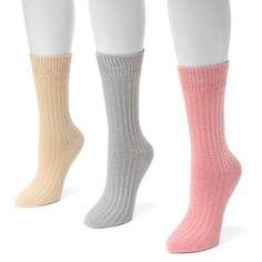 MUK Luks Women's 3 Pair Pack Waffle Boot Socks, Multicolor