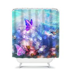 Butterfly Floral Shower Curtain Purples Aqua Turquoise Enchanting ($59) ❤ liked on Polyvore featuring home, bed & bath, bath, shower curtains, bathroom, home & living, shower curtains & rings, silver, floral shower curtains and aqua shower curtains