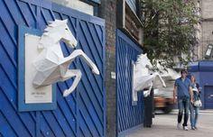 Paper-craft street horse poster