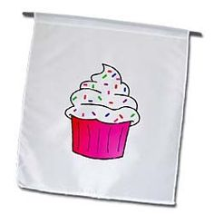 Amazon.com: Yummy Pink Cupcake Cartoon White Frosting with Sprinkles - 12 X 18 Inch Garden Flag: Patio, Lawn & Garden