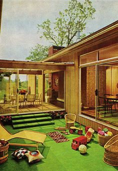 "Astroturf - and green shag carpets, of course.  Should be easy to find short pile fabric for the carpet.  Have to think about the astroturf.  Maybe some of the model railroad ""grass"" would work.  Wonder how I could do the wicker furniture."