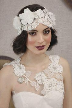 "One of our ""Great Gatsby"" 1920's - inspired couture floral lace headpieces to be adorned on one special bride only! xxx"