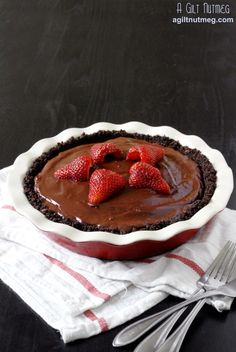 """Easier version: pre-made chocolate graham cracker crust; 1 cup partially thawed frozen raspberries placed in the crust; cook & serve Jello chocolate pudding (I used soy milk) poured over the raspberries; add whipped cream if desired; let it cool to """"set up"""". Yummy."""