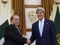 US Secretary of State John Kerry (R) shakes hands with Pakistan's Prime Minister Nawaz Sharif in Islamabad on August 1, 2013