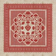 Floral Heart Pillow Cover - Cross Stitch Pattern - PDF Booklet. $8.00, via Etsy.