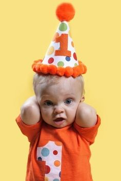Infant/Toddler Boys First 1st Birthday Orange Lolli Dot Party Set Shirt and hat