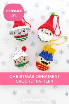 Crochet Christmas ornaments, nutcracker and friends for easy to crochet fun. Downloadable PDF from LoveCrafts.com C2c Crochet, Easter Crochet, Crochet Patterns, Crochet Christmas Ornaments, Christmas Crafts, Christmas Decorations, Xmas Baubles, Pom Pom Maker, Paintbox Yarn