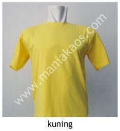 Kaos O-neck Lengan Pendek Kuning, bahan 30s combed cotton. Tersedia juga model lengan panjang untuk warna kuning.
