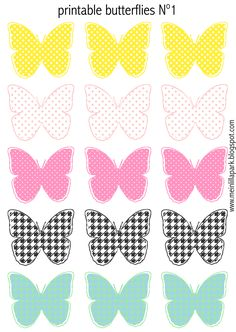 Free printable pastel colored butterflies - Schmetterling Druckvorlagen - freebie