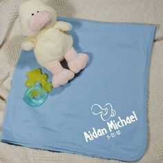 New Baby Boy Pacifier Personalized Blue Blanket