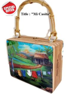 "On Sale!. Cigar Box Purse w/ Cuban artworks on top ""Mi Casita ""Art by Daysi"