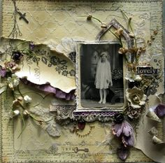 Girls in White Dresses, 1929 ~ Heritage First Communion Day page. The full journaling is revealed by pulling on the tiny chain attached to the cross in the upper left corner. The chain and the cross belonged to the scrapper's mother. Love the torn paper embellishments and ink distressing.