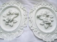 Rose Rococo Chic Romantic White Plaque Wall Decor Hanging French Cottage Shabby