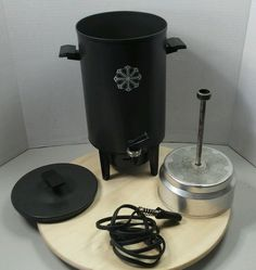 Miracle Maid West Bend 20 cup Coffee Maker Percolator Vintage Black Gray #WestBend