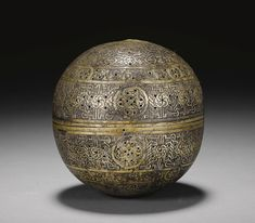 A MAMLUK SILVER AND GOLD-INLAID SPHERICAL BRASS INCENSE BURNER, SYRIA, 15TH CENTURY