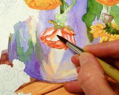 Starting orange flowers; softening an edge