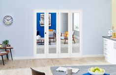 White Pattern 10 Roomfold - Clear glass: Interior Folding Door