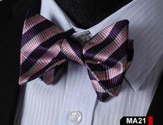MA21 PURPLE, PINK,100%Silk Striped Bow Ties Men SELF Tie Classic Wedding Butterfly Bow Tie