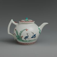 Teapot with storks, Chantilly, 1735