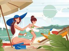 Family on the beach flat vector illustration sunblock pretty palm travel beach summer relax Mouse Illustration, Beach Illustration, Family Illustration, Beach Design, Illustrations, Beach Art, Drawing Tutorials, Strand, Summer Beach