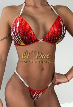 Red Metallic Spandex Bikini Suit with Crystals/Competition