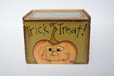 Halloween Decor Hand Painted Wood Box Pumpkin Decor by Ramshackles, $9.25